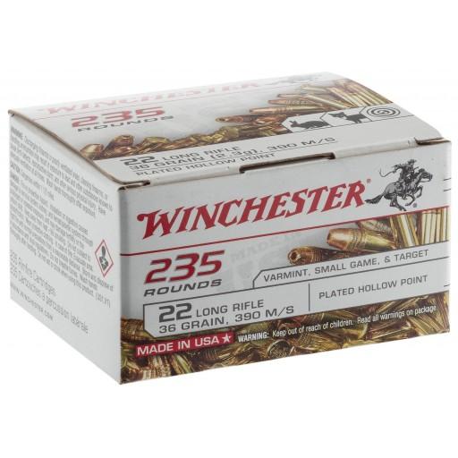 winchester 22l - ogive hollow point - 36 grains - vitesse 390 m/s