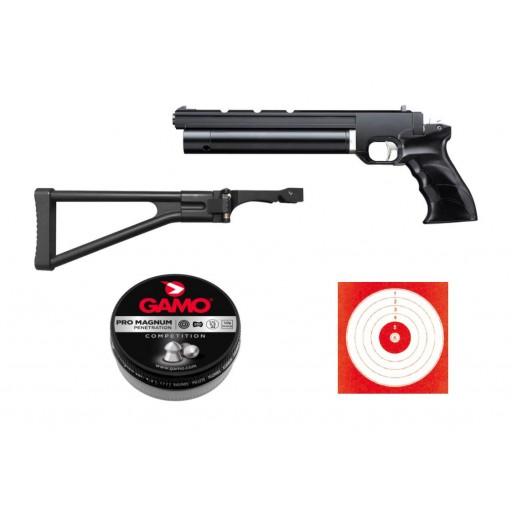 pistolet à plombs artemis pp700s calibre 5.5  + crosse pliable + plombs pro magnum + cibles