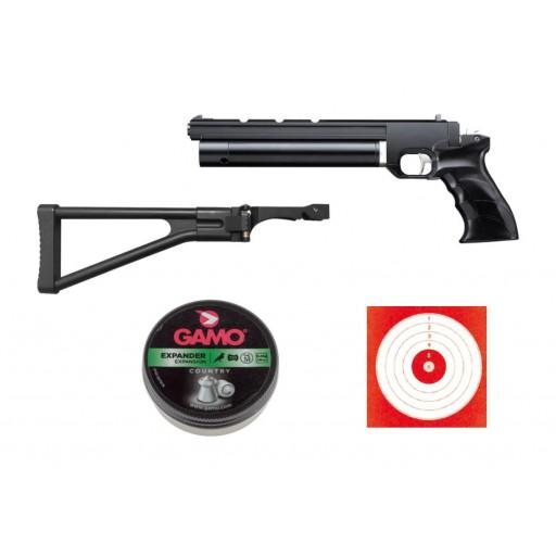 pistolet à plombs artemis pp700s calibre 4.5  + crosse pliable + plombs expander + cibles